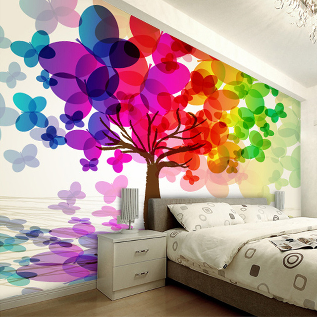 Custom Wallpaper Cartoon Colorful Tree For Kids Wall Mural Embossed Walls Room Backdrop Non Woven Paper