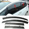 Stylingg toldos abrigos 4 pçs/lote viseiras da janela do carro para honda fit 2006-2016 sol chuva escudo adesivos covers