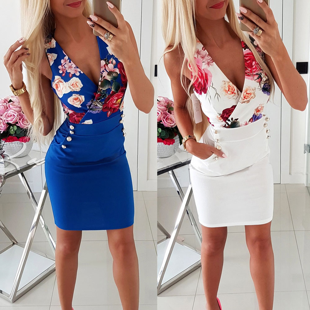 White Low Cut V Neck Floral Print Women Vestidos Blue Bodycon Dress Summer 2019 Mini Package Hips Dresses Sexy Office Dress Lady