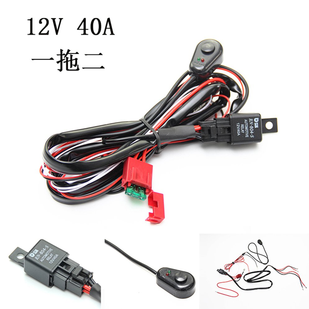 2M Car LED Work Light Wiring Harness ON/OFF Switch LED Fog Lamp Switch Universal For Long Strip Light Off-road Spotlights