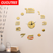Decorate 3D number clock art wall mirror sticker decoration Decals mural painting Removable Decor Wallpaper LF-1902