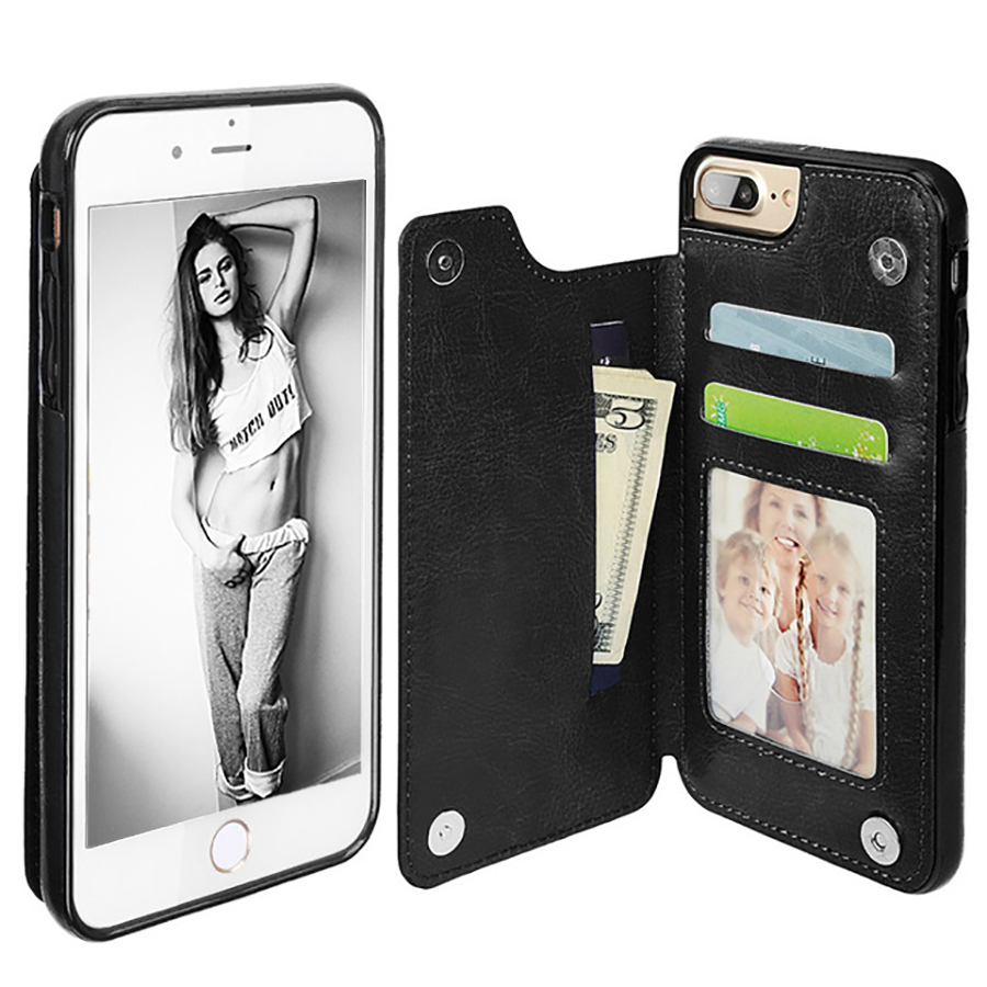 LANCASE Lyxigt läderfodral för iPhone 6 Fodral Plånbokskort Slots Hölje hoesjes För iPhone 8 Plus Fodral 6s 6 7 plus Flip Funda