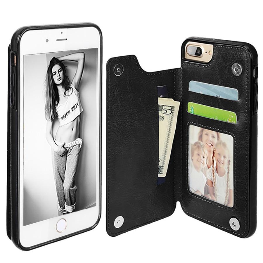 LANCASE Πολυτελή δερμάτινη κάλυψη για το iPhone 6 Θήκες καρτών Πορτοφολιού Θήκες υποδοχές Θήκες για iPhone 8 Plus Θήκη 6s 6 7 plus Flip Funda