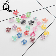 50pcs/Lot 10.5mm Mix Colors Cabochons Botoes Flat Back Resin flowers For DIY Phone Decoration and Earring Accessory buttons 187