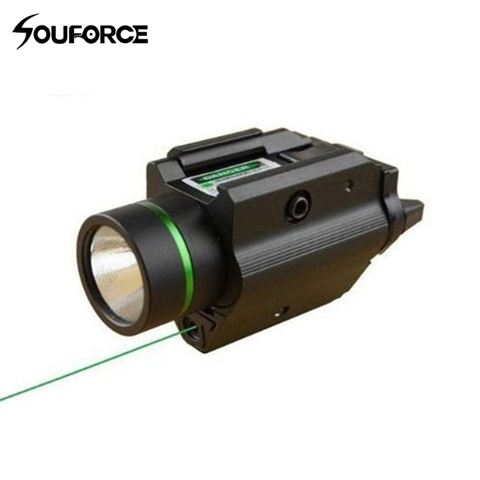 Tactical Green Laser Sight with  LED Flashlight 2 in 1 Combo with 20mm Picatinny Rail Weaver for Glock 17 Hunting xl nxf rg 5mw green laser gun sight w weaver mount led flashlight black 3 x cr 1 3n
