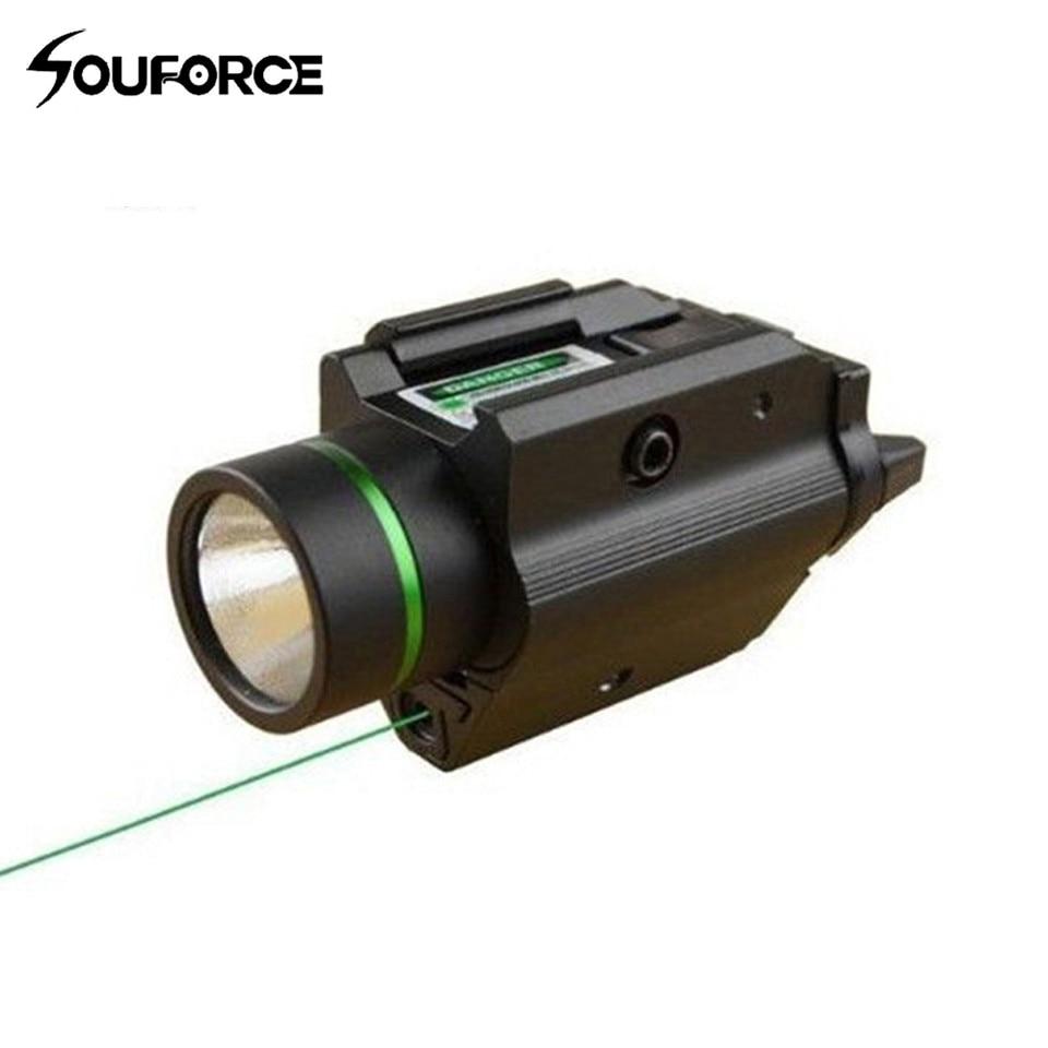 Tactique Vert Visée Laser avec LED lampe de Poche 2 en 1 Combo avec 20mm Picatinny Rail Weaver pour Glock 17 chasse