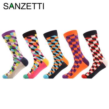 SANZETTI 5 Pairs/lot Men's Colorful Funny Combed Cotton Socks Argyle Filled Optic Striped Casual Dress Crew Socks Winter Socks - DISCOUNT ITEM  40% OFF All Category