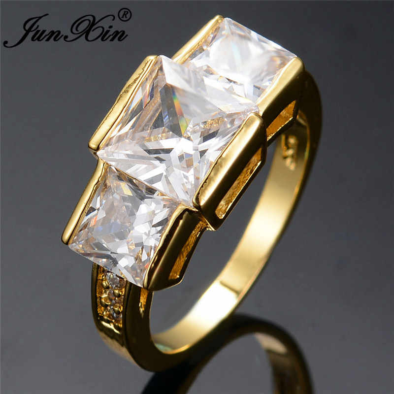 JUNXIN หรูหราใหญ่หินสามวงแหวนเพทายสำหรับผู้หญิงผู้ชายสีเหลืองสีม่วง/สีเขียวหิน Royal Birthstone เครื่องประดับ