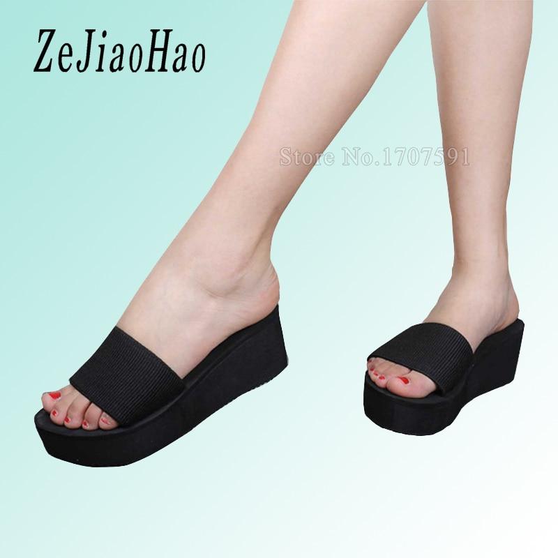 3a8dc9247525d Summer Woman Shoes Platform bath slippers Wedge Beach Flip Flops High Heel  Slippers For Women Brand