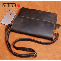 AETOO Crazy Horse Skin Male Personality Shoulder Bag Messenger Bag Leather Retro Hand Made Leisure Cowhide