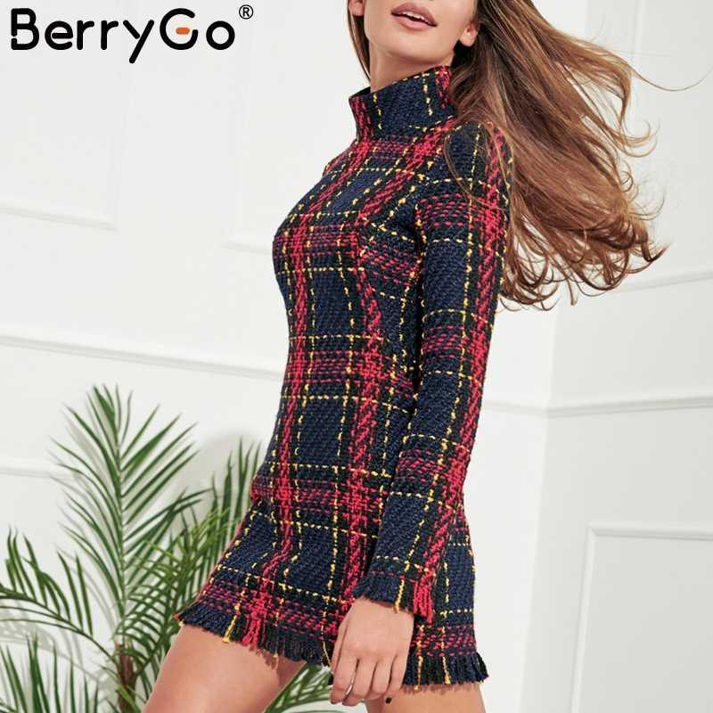 BerryGo элегантное офисное женское клетчатое зимнее платье 2018 с длинными рукавами и воротником-стойкой, плотное теплое платье с кисточками, модное тонкое женское платье