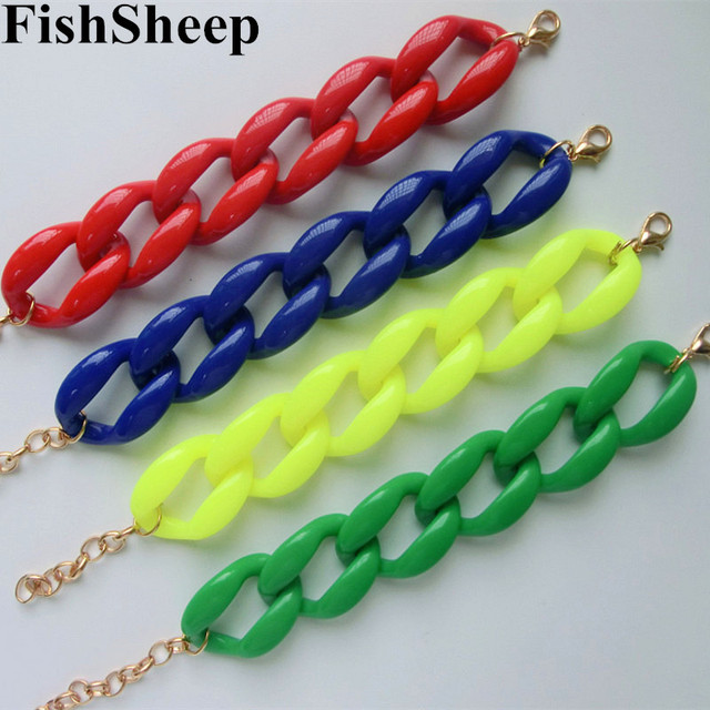 Fishsheep New Fashion Acrylic Chain Link Bracelet For Women Men Bohemian Colorful Cuff Wristband Bracelets & Bangles Jewelry