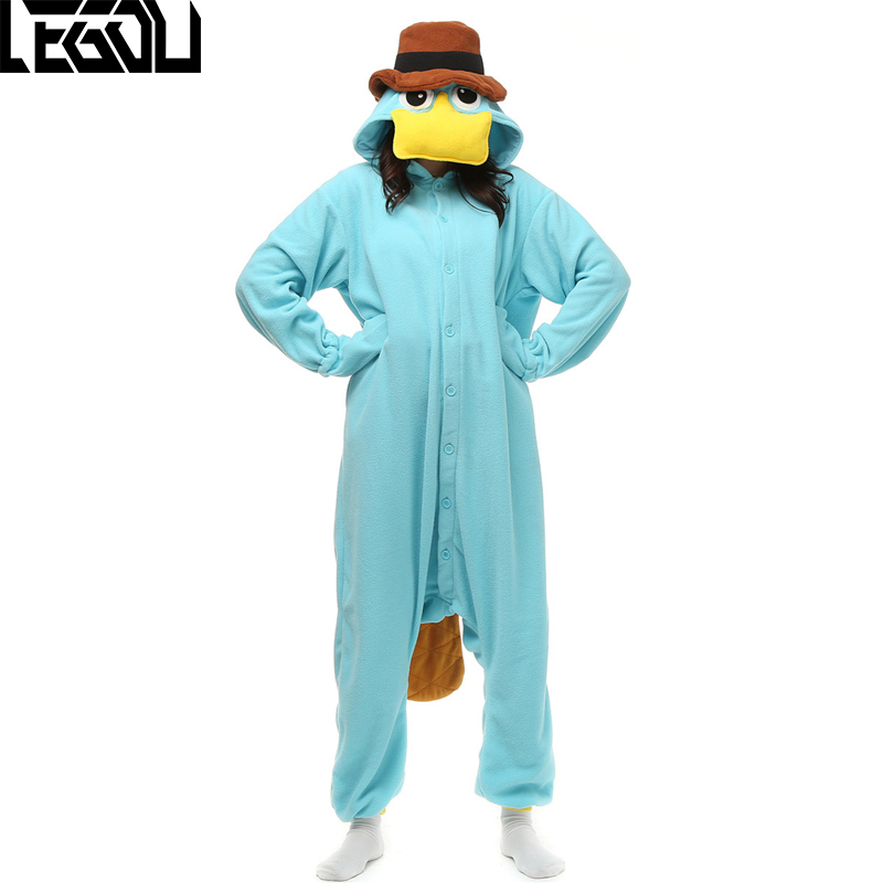 Adult Men Women Pajamas Perry the Platypus Fleece Pajamas Cosplay Onesie Sleepwear Halloween Costume