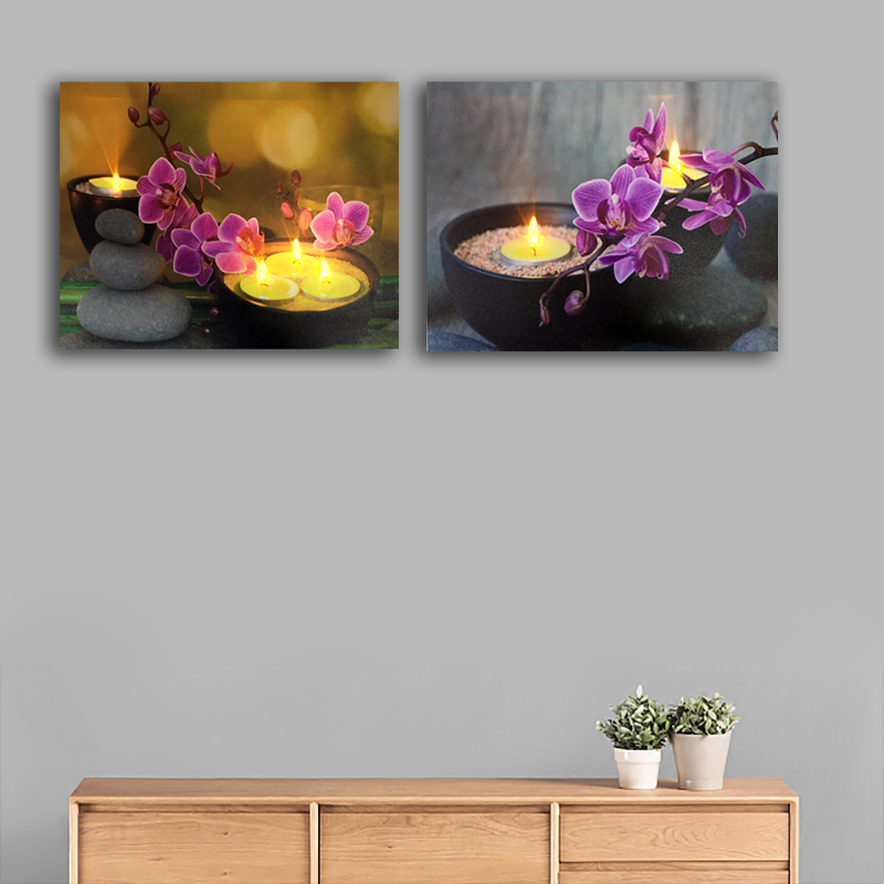 Hot Sale Lighted Wall Art Orchids With Tealights Zen Stone Led