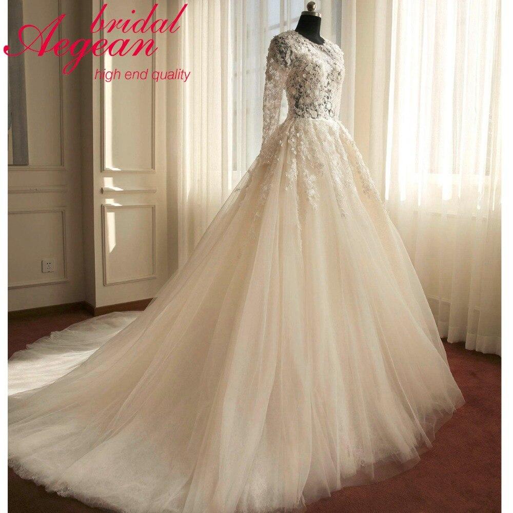 KE30 Real Sample Long Sleeve Vestido De Noiva Ball Gown