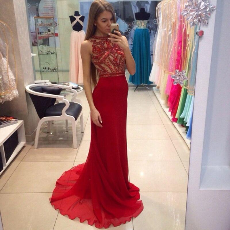 Red Rhinestone Prom Dresses Long Tight Chiffon Fully Beaded Top