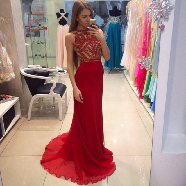 Red Rhinestone Prom Dresses Long Tight Chiffon Fully Beaded Top ...