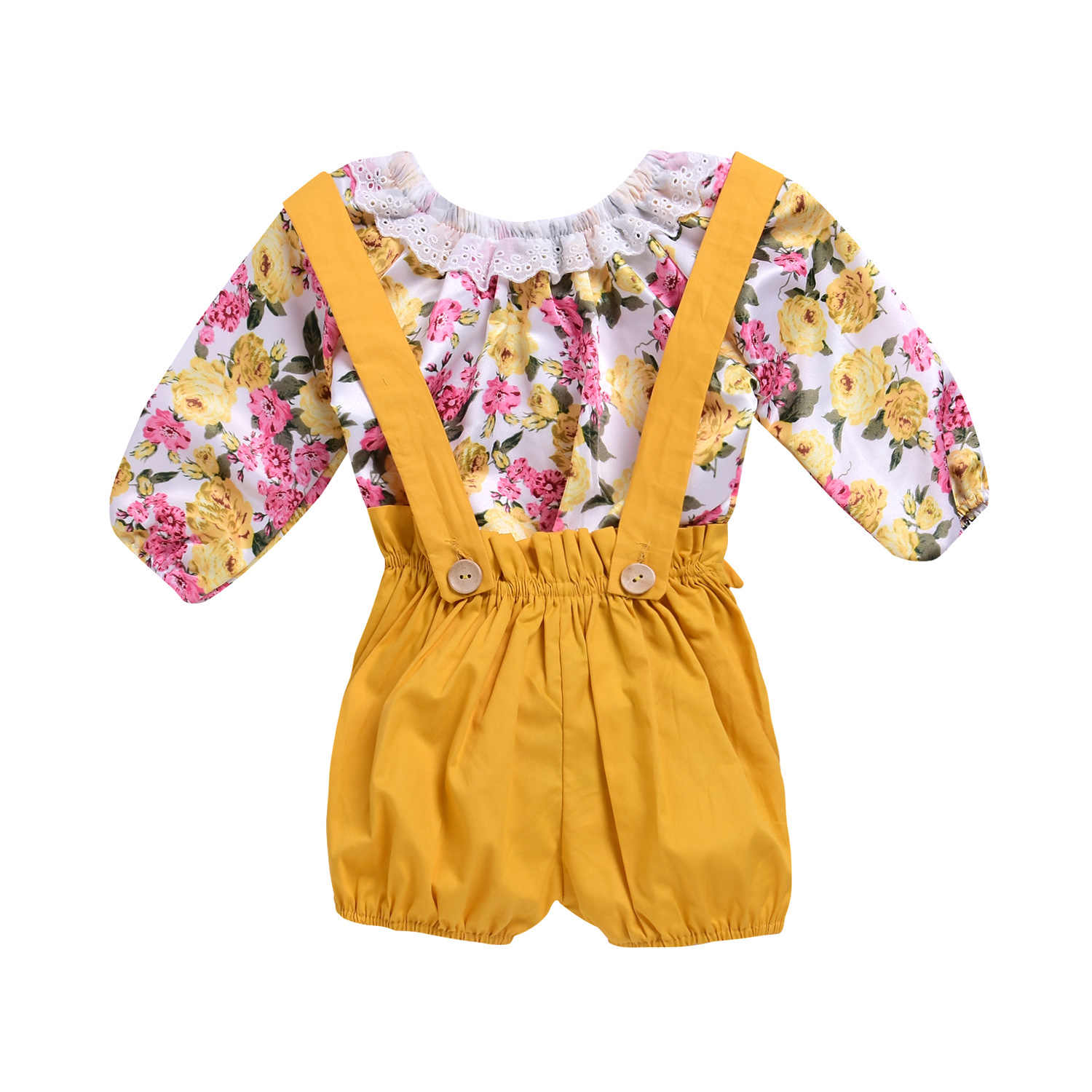 a08e70eaa Kids Baby Girls Floral Bodysuit Tops Yellow Suspender Overall Outfits  Toddler 2018 Summer Headband Outfits 2Pcs