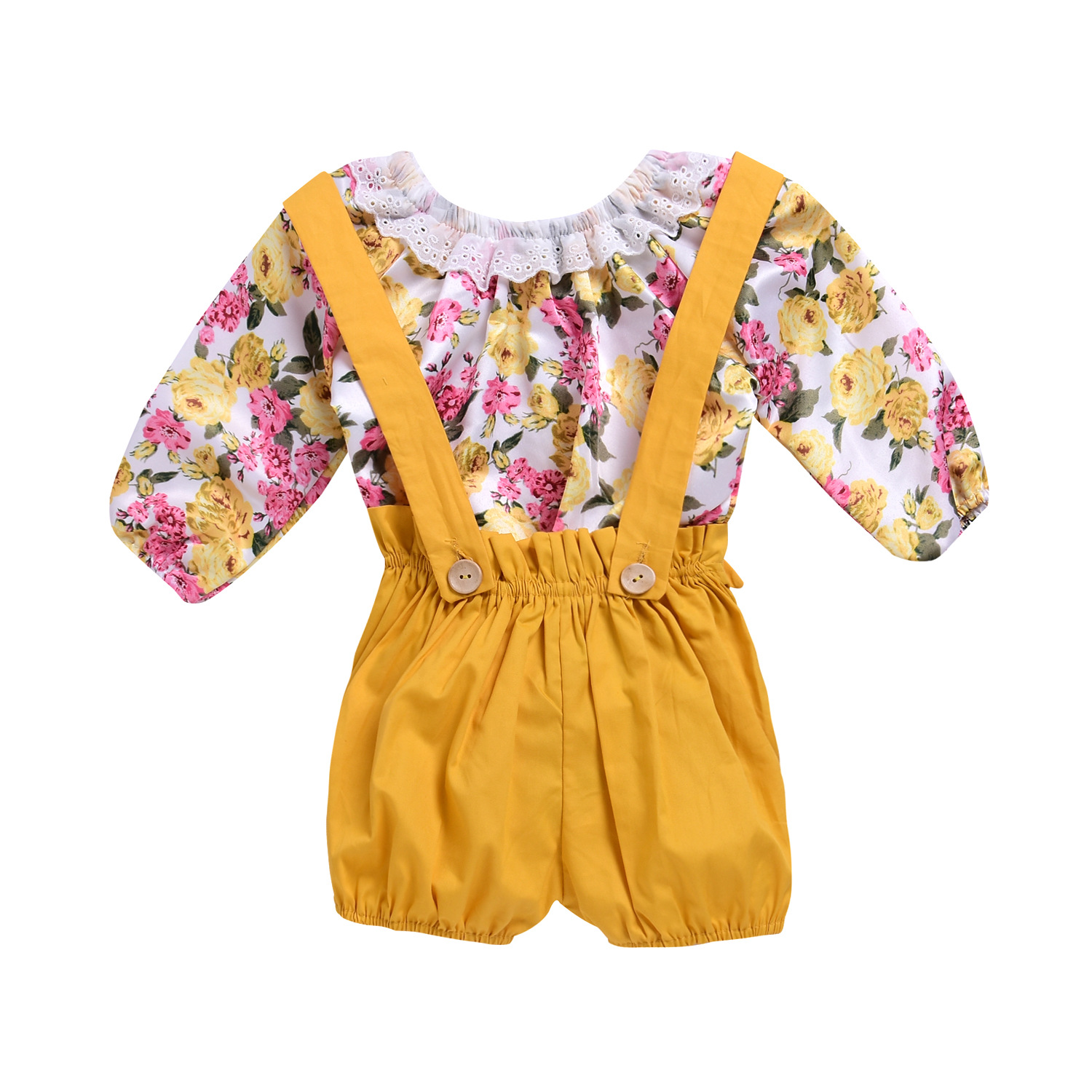 Kids Baby Girls Floral Bodysuit Tops Yellow Suspender Overall Outfits Toddler 2018 Summer Headband Outfits 2Pcs Set Clothes 1-5Y