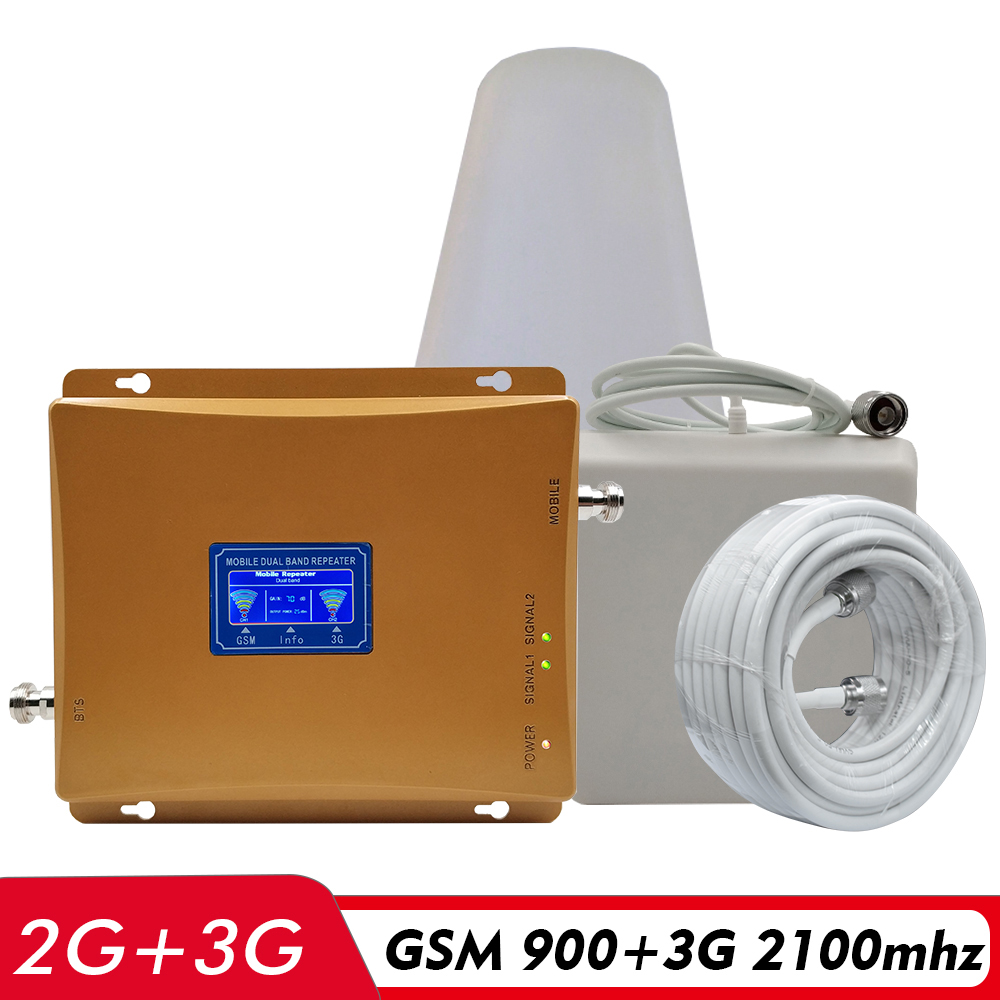 65dB Gain LCD Display Dual Band Booster 2G GSM 900 3G UMTS WCDMA 2100 Mobile Cell Phone Signal Repeater 900 2100MHz 3G Amplifier