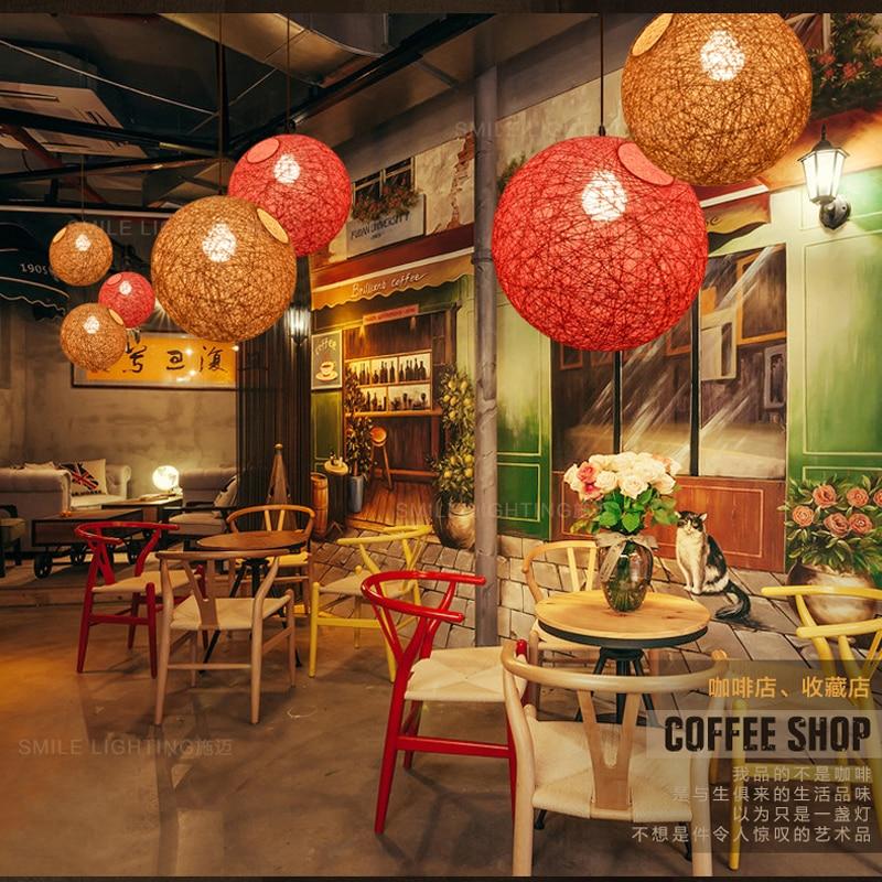Rattan Chandelier Vintage Lamp Restaurant Chandelier Modern LED Ceiling Light AC 90v-260v Bedroom Ma Ball Chandelier