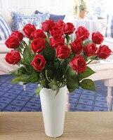 Hogar y decoración de La Boda, 30 real touch rosas pequeñas y conjunto florero, de flores, Centros de Mesa, blanco rojo rosa