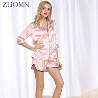 Women Summer Pajamas Ladies Sexy Silk Satin Pajama Set Sleepwear Summer Home Wear Sleep Wear For