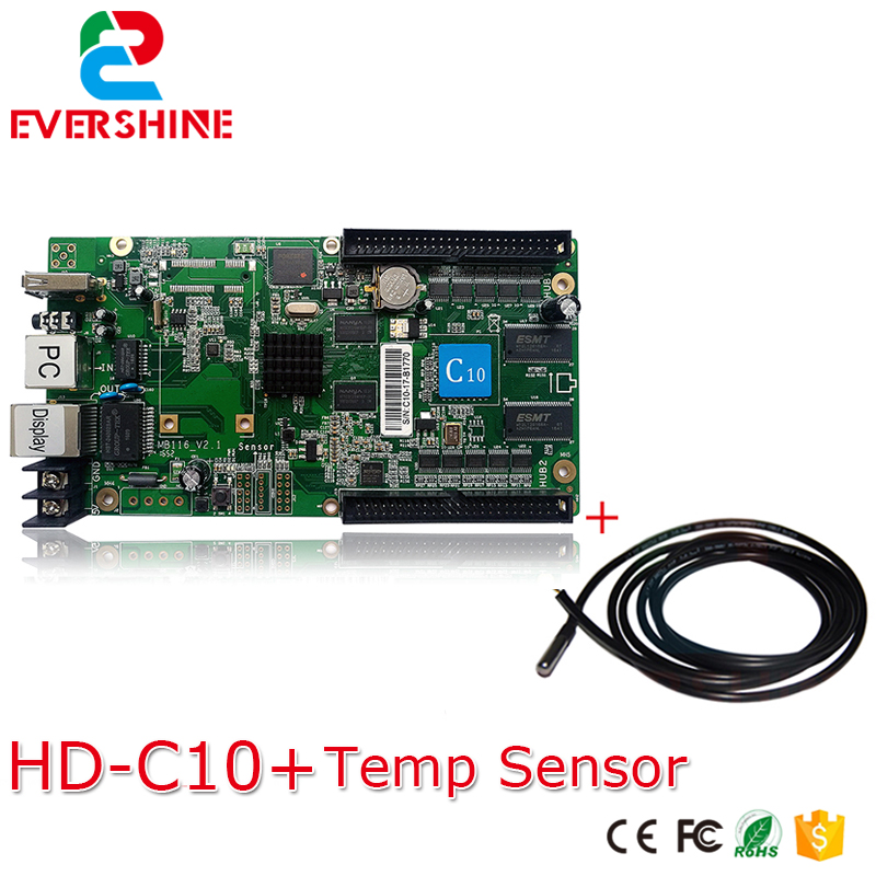 HD-C10 HUIDU Card Asynchronous led display screen controller RGB full color led display card with 1pcs temperature sensor diy p3 led display screen smd indoor full color module 10pcs 1 pcs control card c10 cl power supply 2pcs p3 rgb led sign