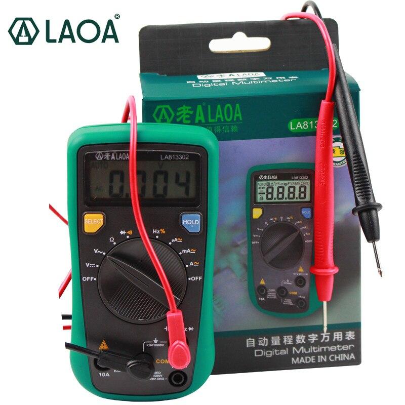 LAOA LCD professionnel automatique multimètre numérique Multimetro outils numériques testeur électrique AC/DC ampèremètre voltmètre LA813302