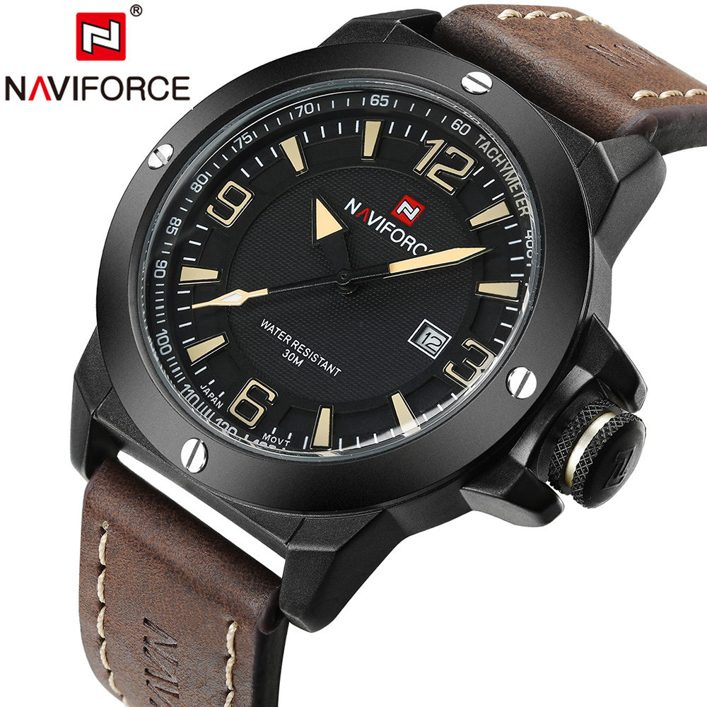 New Mens Watches Top Brand NAVIFORCE Luxury Men Quartz Watch Casual Sport Military Watches Male Leather Clock Relogio Masculino weide mens watches top brand luxury fashion casual sport quartz watch men military wristwatch clock male relogio masculino