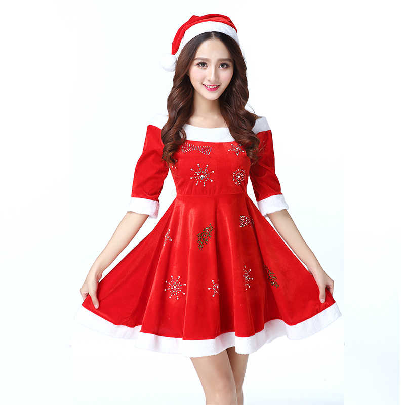 UPHYD Adult Costume Christmas Dresses Red Velvet Fur Miss Santa Claus  Costumes Lady New Year Party ab7dbff16