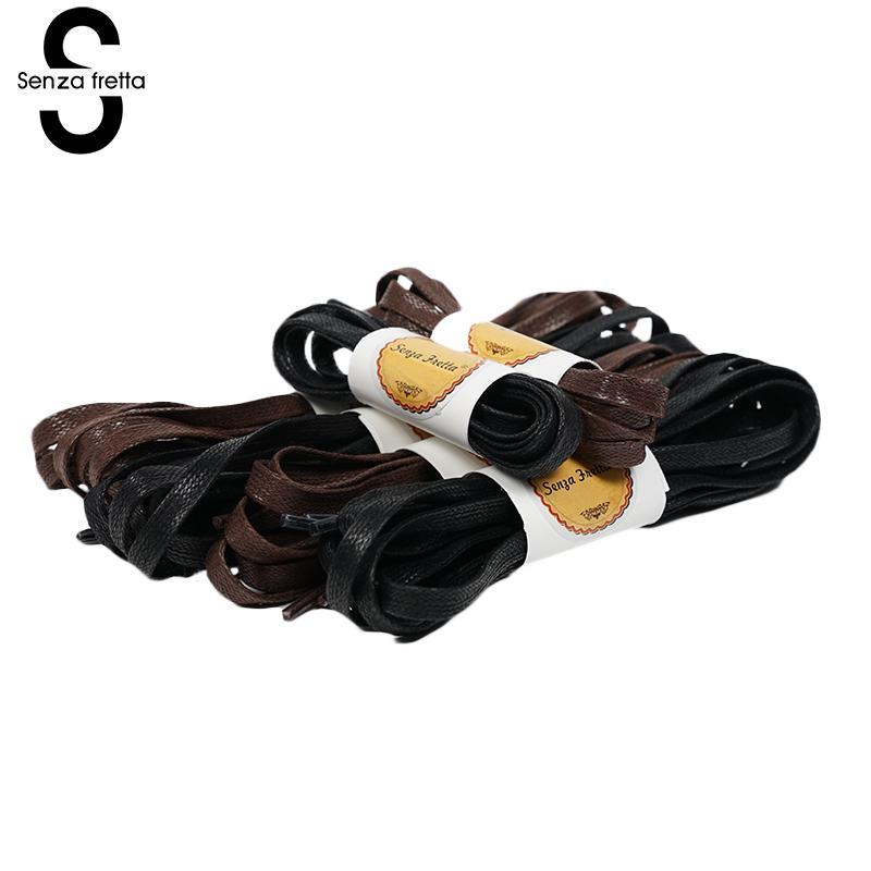 Senza Fretta New Flat Waxed Shoelaces Dress Canvas Shoe Lace Sneaker Boots Shoes Laces Unisex Strings Shoelace Colors