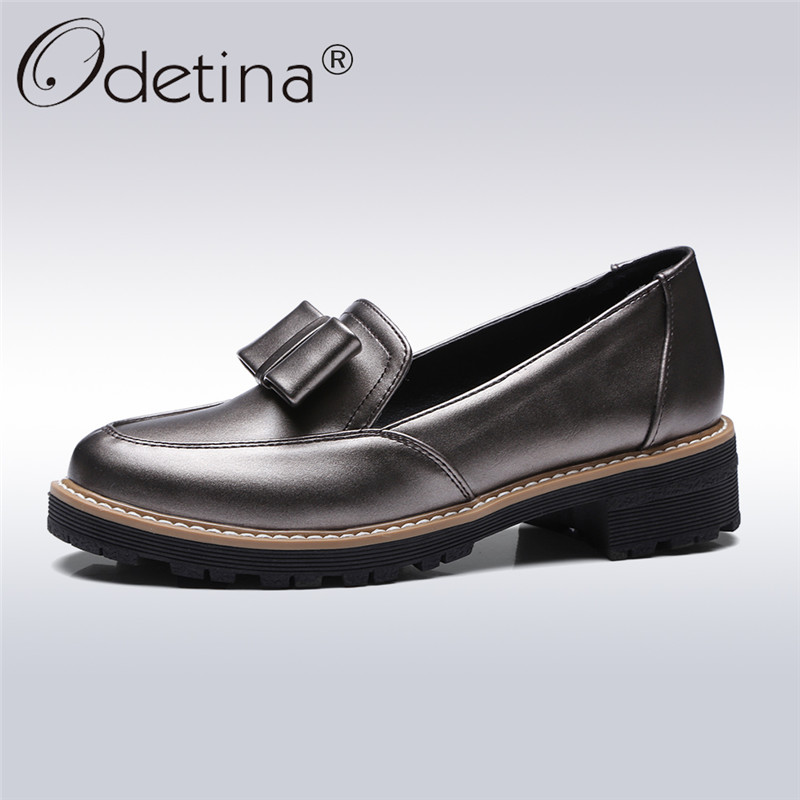 Odetina 2018 New Fashion Ladies Chunky Heel Loafers Low Heel Bowknot Shoes Ladis Slip On Oxford Shoes Princess Shoes Big Size 43 стоимость