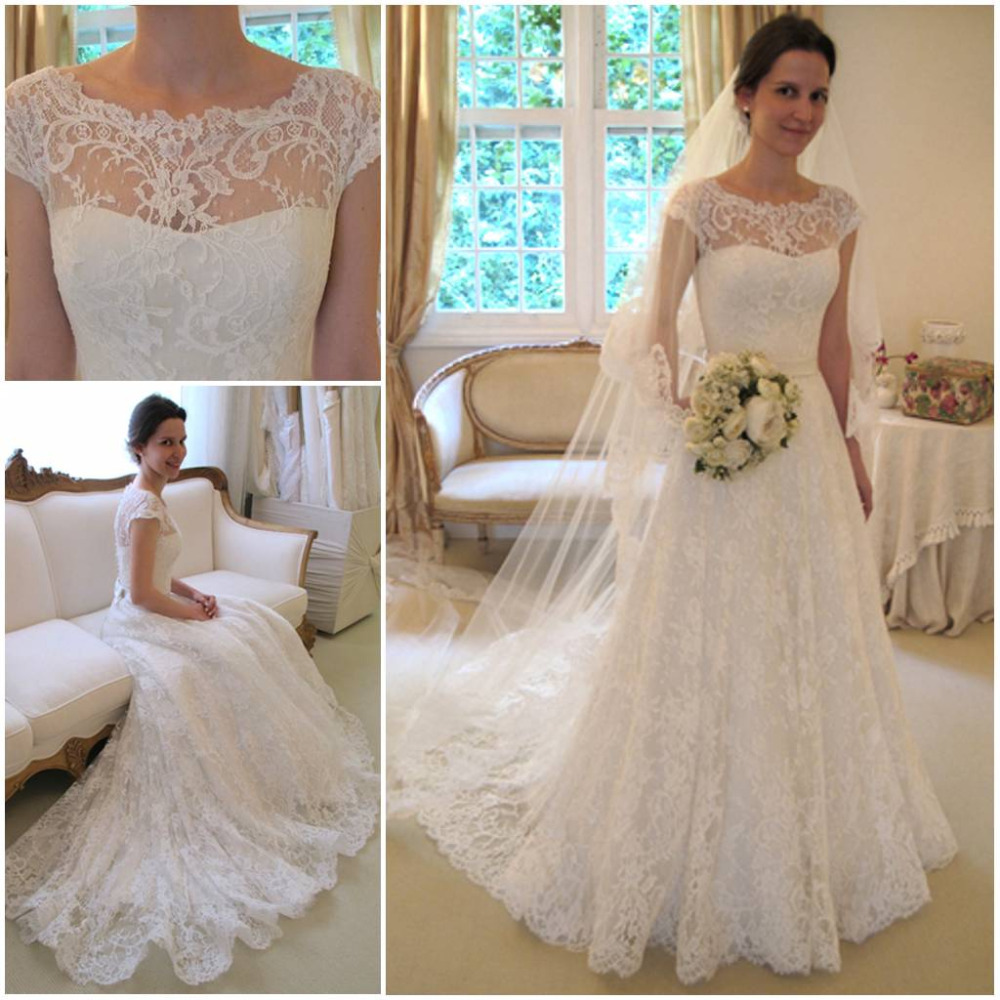Gorgeous 2016 Sheer Lace Wedding Dresses Cap Sleeve Short Sleeves ...