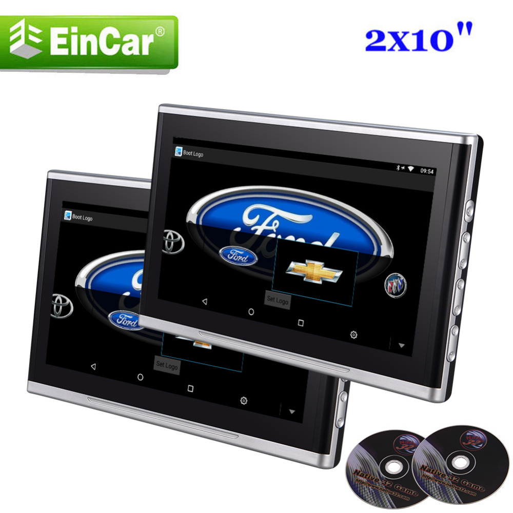 10.1 Wide Screen Eincar Headrest Car Pillow Monitors With DVD player Audio Video Car Seat Headrest 32 Bit Game Remote Control