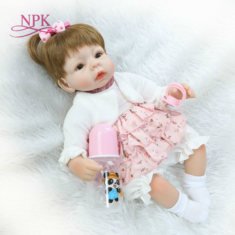 NPK 2018 Hot Sale Newborn Doll Realistic Bebe Reborn Doll 18 Inch Soft Silicone Vinyl Baby Toy For Girl XMAS Gifts house mates
