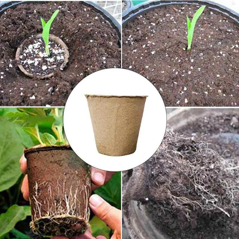 4pcs Hydroponic Plant Nursery Cup Round Peat Pots Biodegradable Paper Pulp Cup Nursery Tray Of New Garden Jardin Plants Grow Box