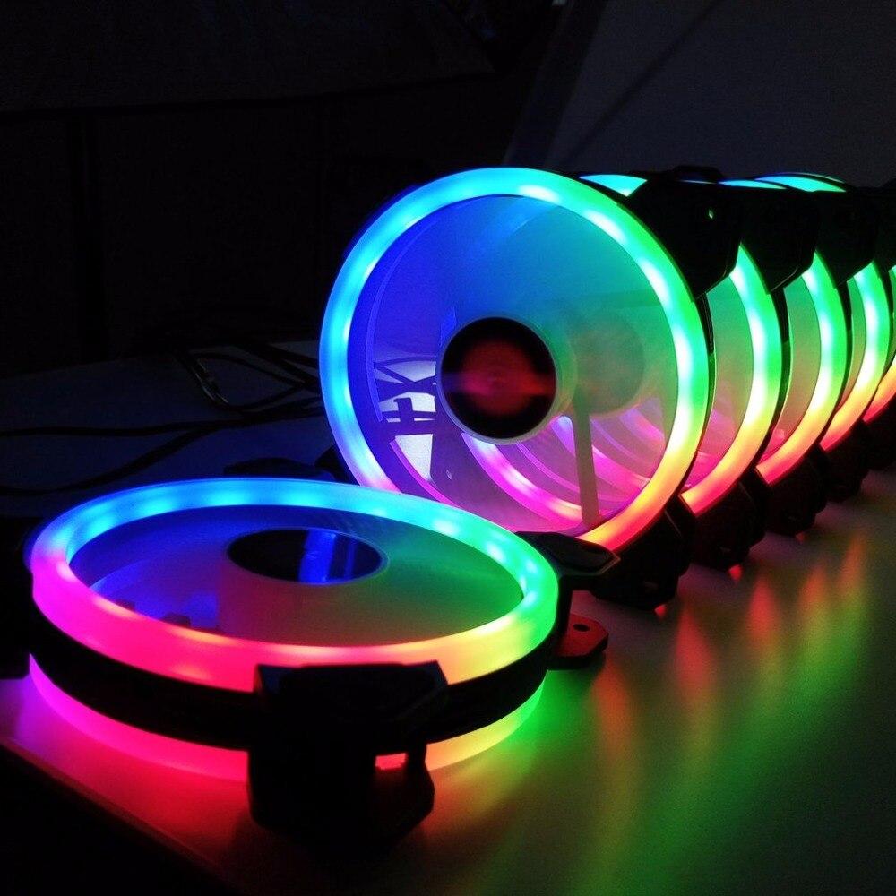 6 pièces ordinateur PC refroidisseur ventilateur de refroidissement Double anneau 366 Modes 10 niveau ajuster la vitesse rvb LED 120mm ventilateur avec télécommande pour CPU - 3