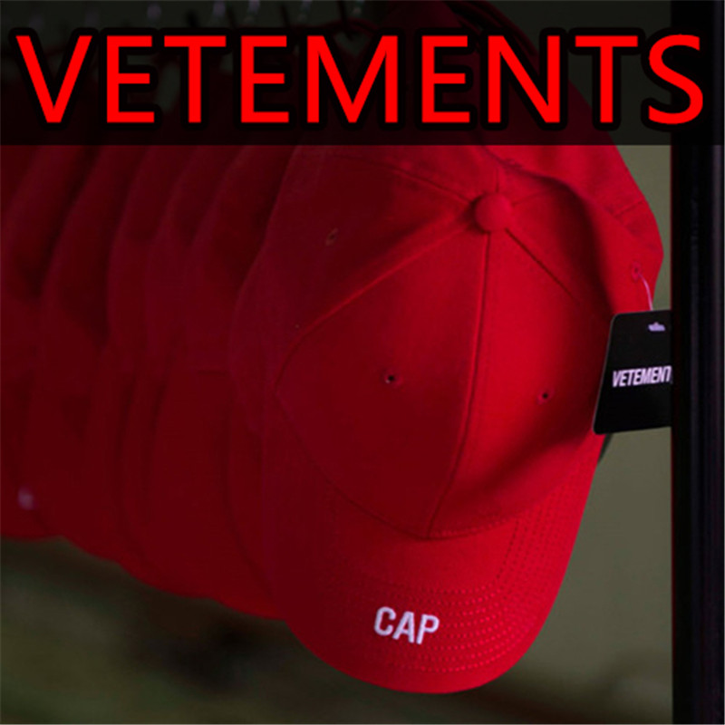 a13d6dfa529 Vetements Brand Hats Men 2017 New Fashion Dad Hat Solid Red Black VTM Embroidery  Baseball Caps
