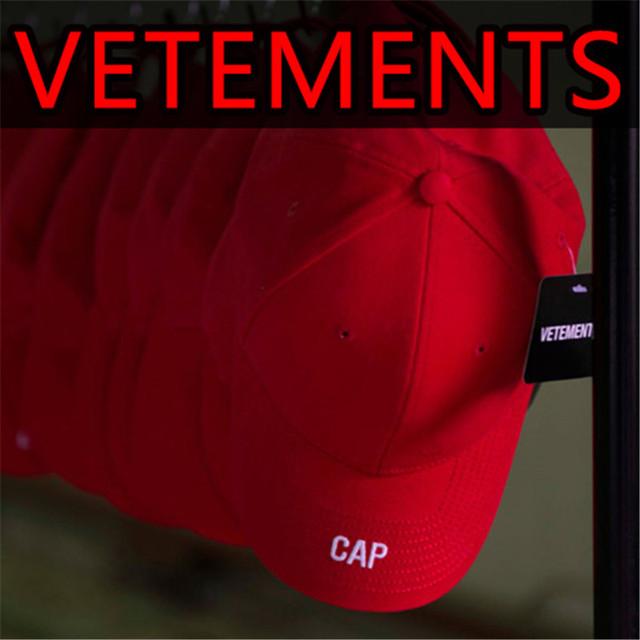 Vetements Marca Chapéus Dos Homens 2017 Nova Moda Sólida Chapéu de Pai vtm bordado bonés de beisebol hip hop streetwear snapback preto vermelho Cap