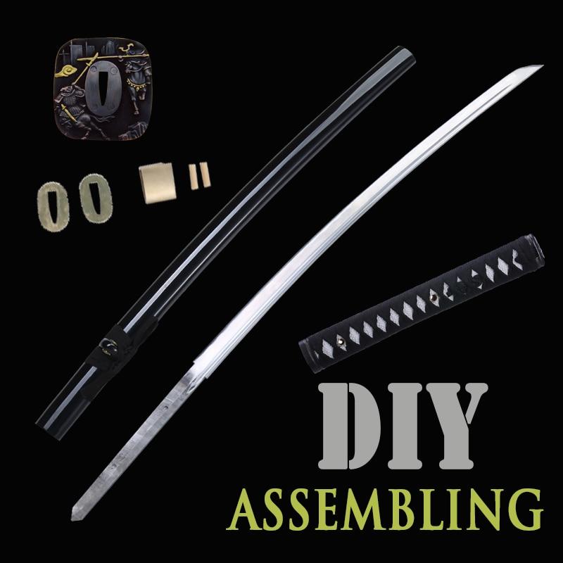 Niepołączonych miecz japoński ręcznie Katana 1045 ze stali węglowej specjalne dostosowane dla siebie prawdziwe ostrze pełna Tang ostrość w Miecze od Dom i ogród na  Grupa 3