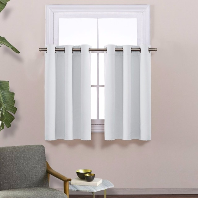 NICETOWN Energy Smart Thermal Insulated Blackout Grommet Curtain Panel For Kitchen Half Window Tier