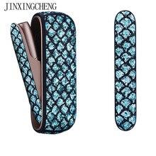 Jinxingcheng 3 cores cintilante saco titular capa lateral + caso de couro para iqos 3.0 bolsa de couro caso acessórios para iqos 3 capa