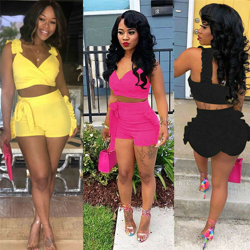 Summer Fashion Women Crop Tops High Waist Shorts 2pcs Ruffles Bow Outfits Ladies Slim Matching Clothes Sets