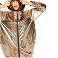 Золотой Капюшоном Панк Harajuku Негабаритных Пальто С Длинным Рукавом Шнурок Сияющий Осень 2016 Новая Коллекция Весна Новинка Женская Мода Пиджаки QH218
