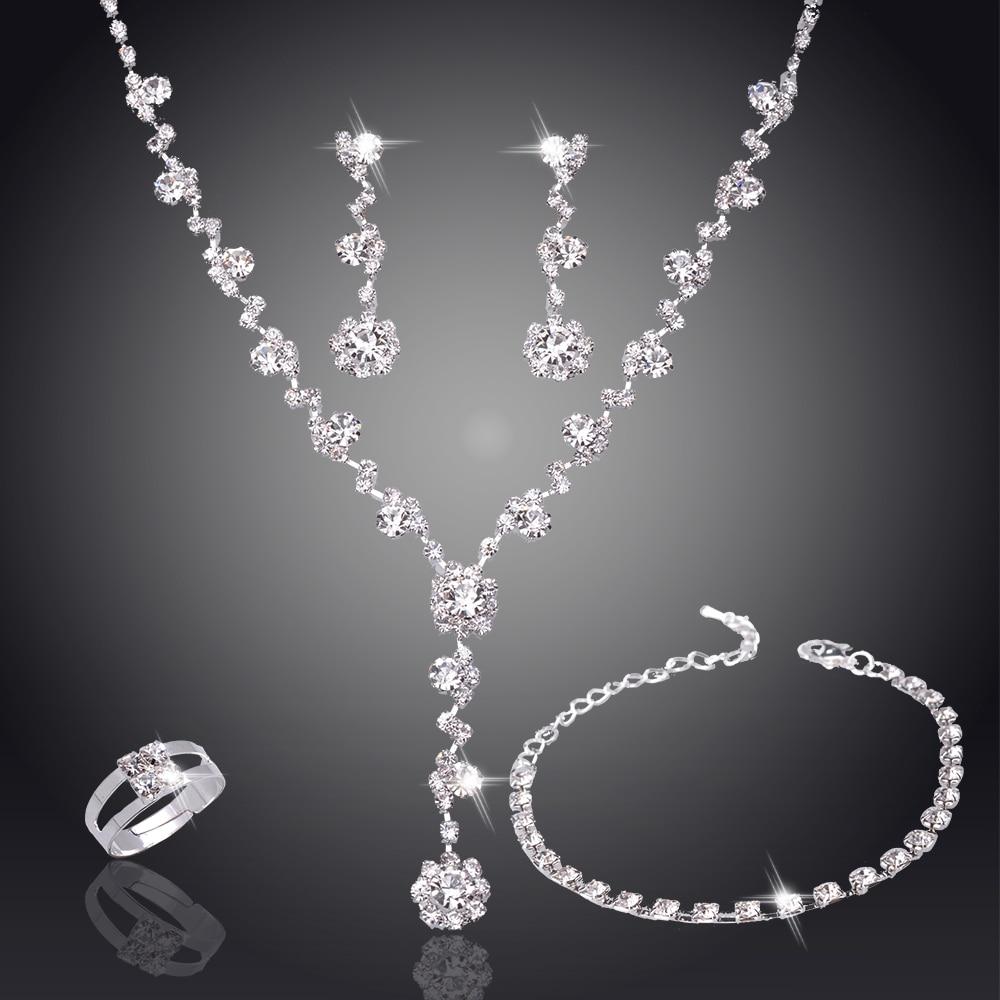 Wedding Jewelry Bridge Rhinestone Crystal Necklace Earrings Set Women Costume Bridesmaid Bridal Silver Plated