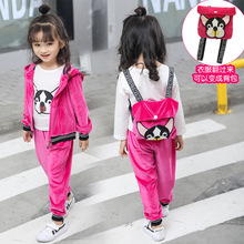 hot deal buy spring cartoon  girls clothing sets children tracksuits hooded jacket can be bag+ pant velvet 2pcs suit girls clothes sport sets