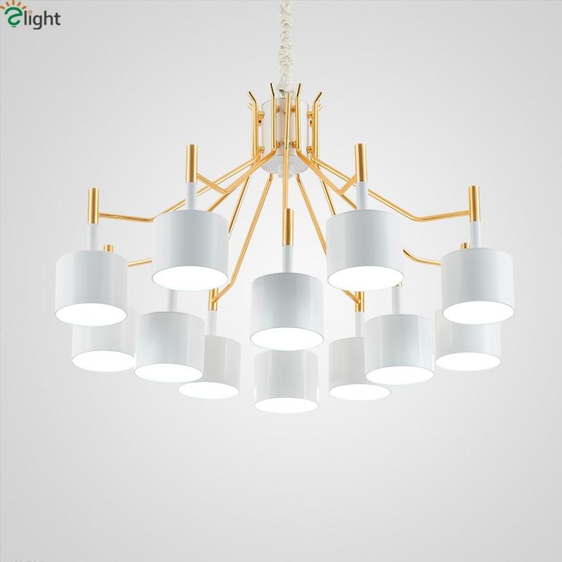 Moderní zlaté kovové LED lustry osvětlení černé a bílé odstíny obývací pokoj led přívěsek lustr světla ložnice závěsné světlo