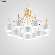 Современные золото металл LED Люстры Освещение черный/белый оттенков Гостиная LED подвесная люстра огни Спальня висит свет