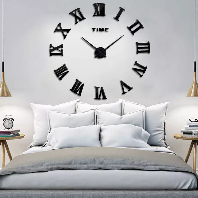 2019 New clock perfect modern DIY design metal acrylic mirror with Roman numerals to decorate your wall and room Free shipping